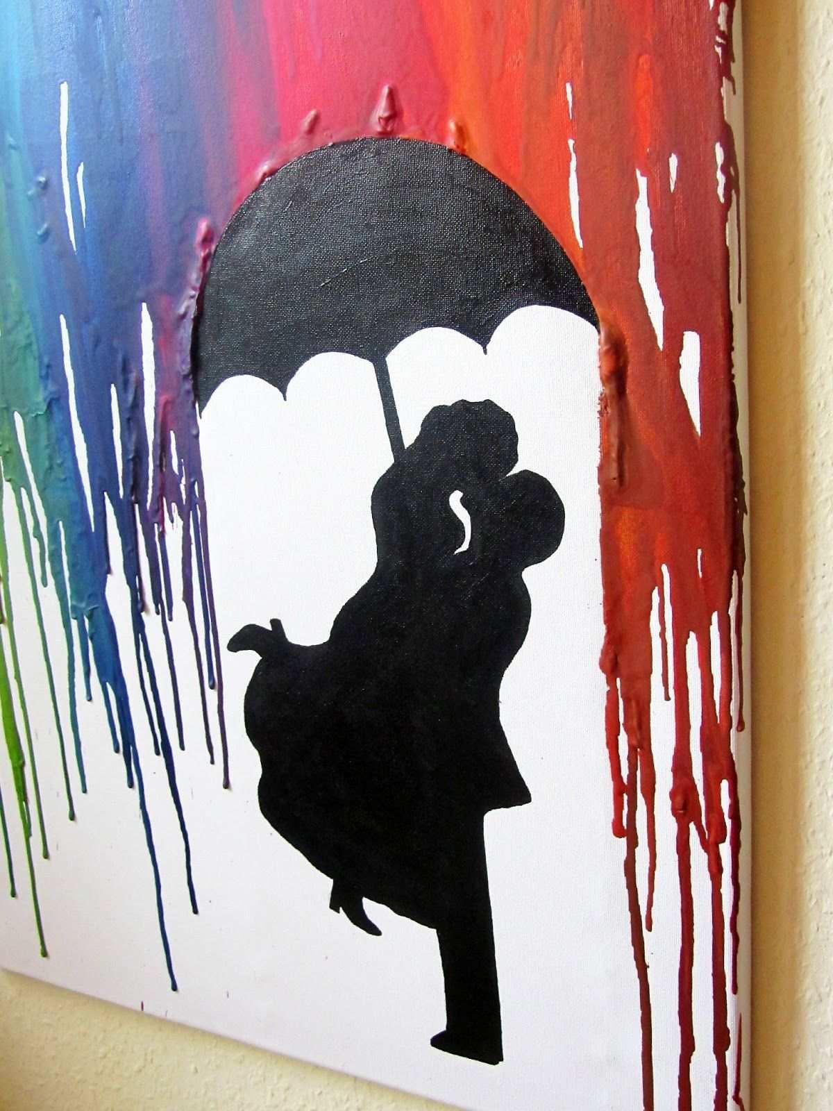 Crayon Art Parchen Im Regen Geschmolzene Wachsmalkunst