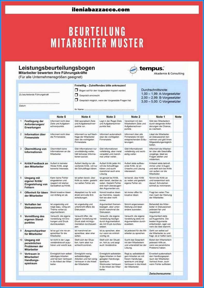 10 Metode Beurteilung Mitarbeiter Muster Gut Und Effektiv