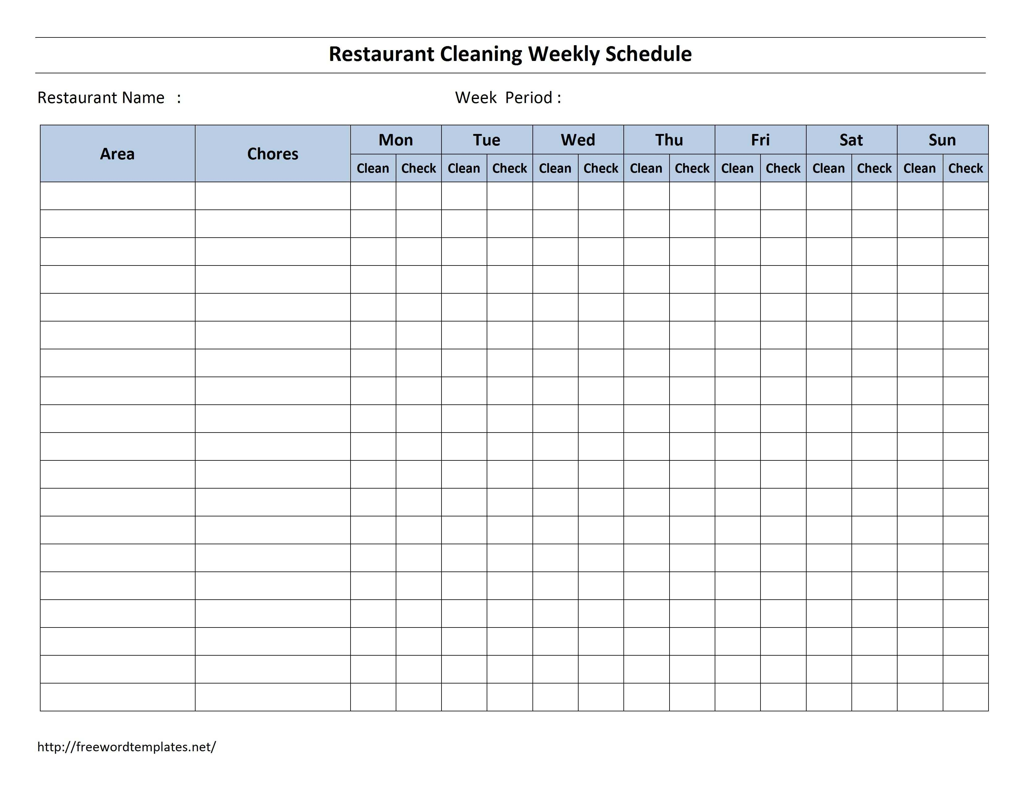 Free Cleaning Schedule Forms Excel Format And Payroll Areas For