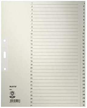 Leitz Papier Register 1231 85 Din A4 1 31 31 Teilig Grau Amazon De Burobedarf Schreibwaren