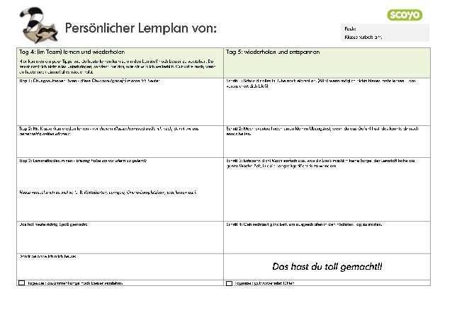 5 Tage Lernplan Fur Die Schule Vorlage Zum Ausdrucken Lernplan
