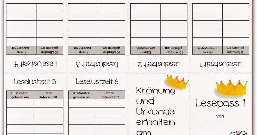 Lesepasse Urkunden Lesen Urkunde Grundschule