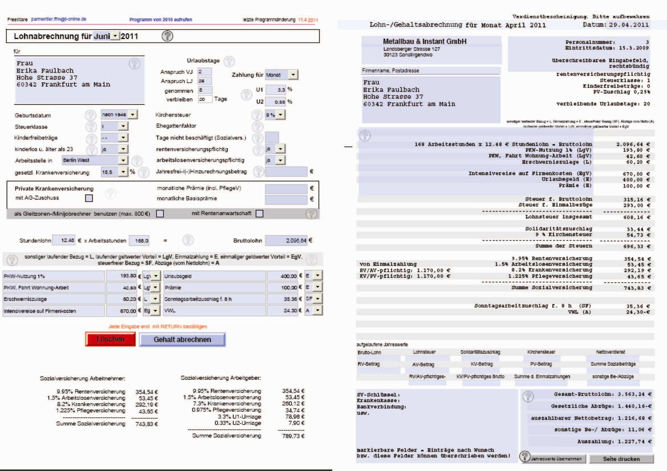 Download Selbstrechnendes Formular Zur Gehaltsabrechnung Pdf Und