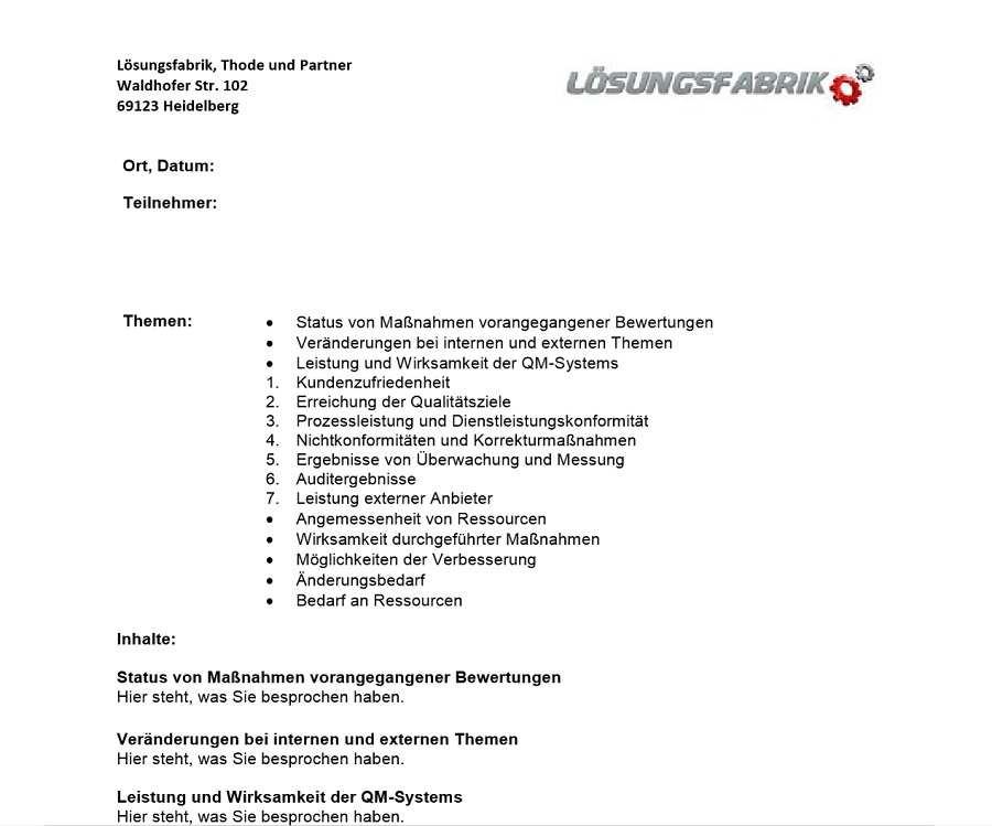 Vorlage Managementbewertung Managementreview Nach Iso 9001 2015