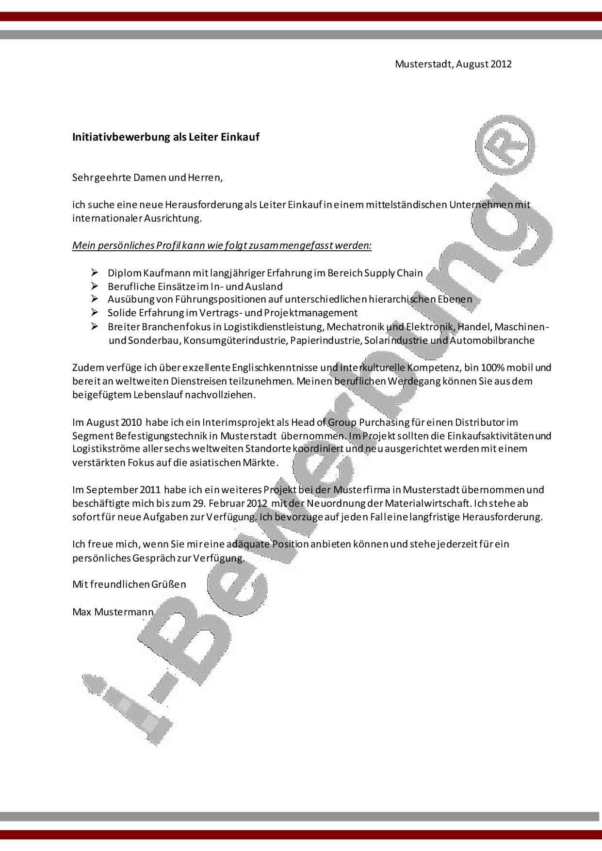 Initiativbewerbung Leiter Einkauf Muster Anschreiben Bewerbung