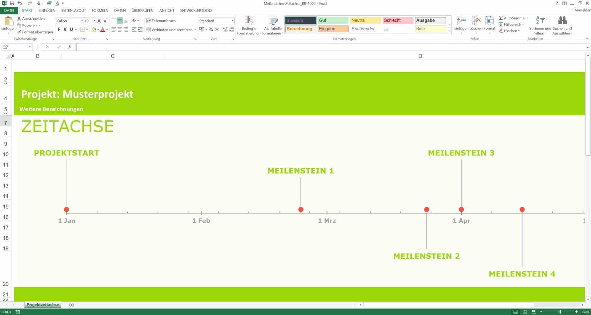 Excel Meilensteinplan Excel Vorlage Planer Steine
