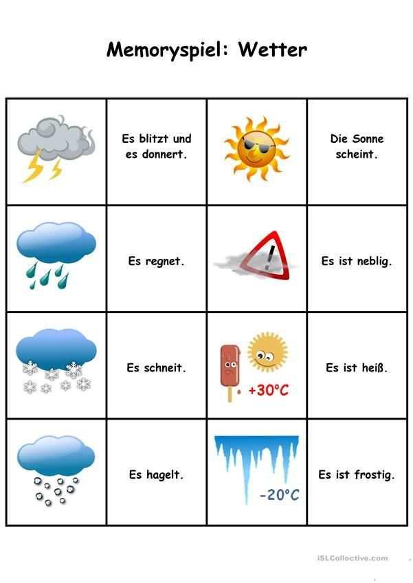 Spiele Im Deutschunterricht Memory Das Wetter Memory Spiele