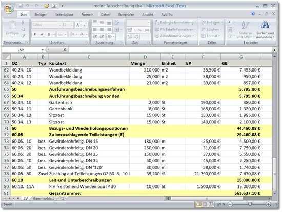 Excel Ausgabe Lv