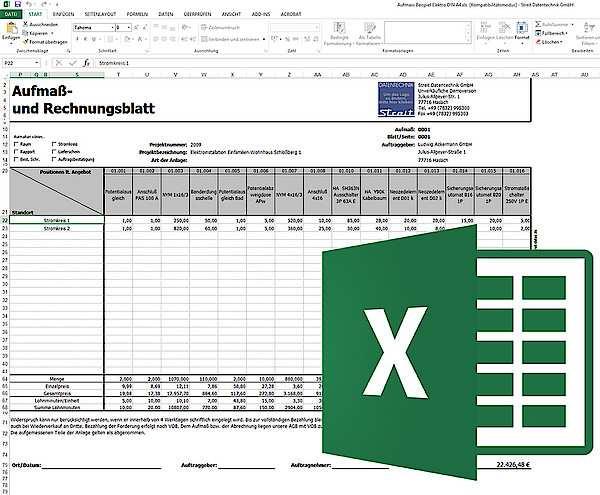 Aufmassprogramm Mit Aufmassvorlage Fur Excel Streit Datentechnik