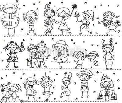 Winter Menschen Kinder Zeichnen Kritzel Zeichnungen Zeichnungen