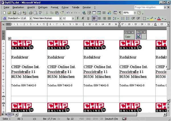 Visitenkarten Assistent Fur Ms Word 97 2000 2002 Download Chip