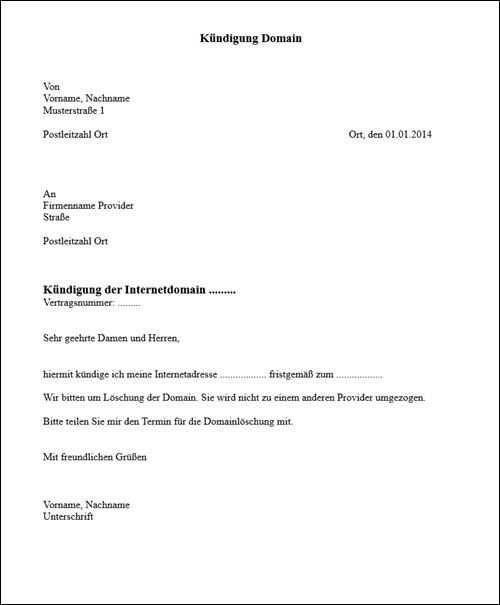 Domain Kundigen Vorlage Fur Word Kundigungsschreiben Vorlagen