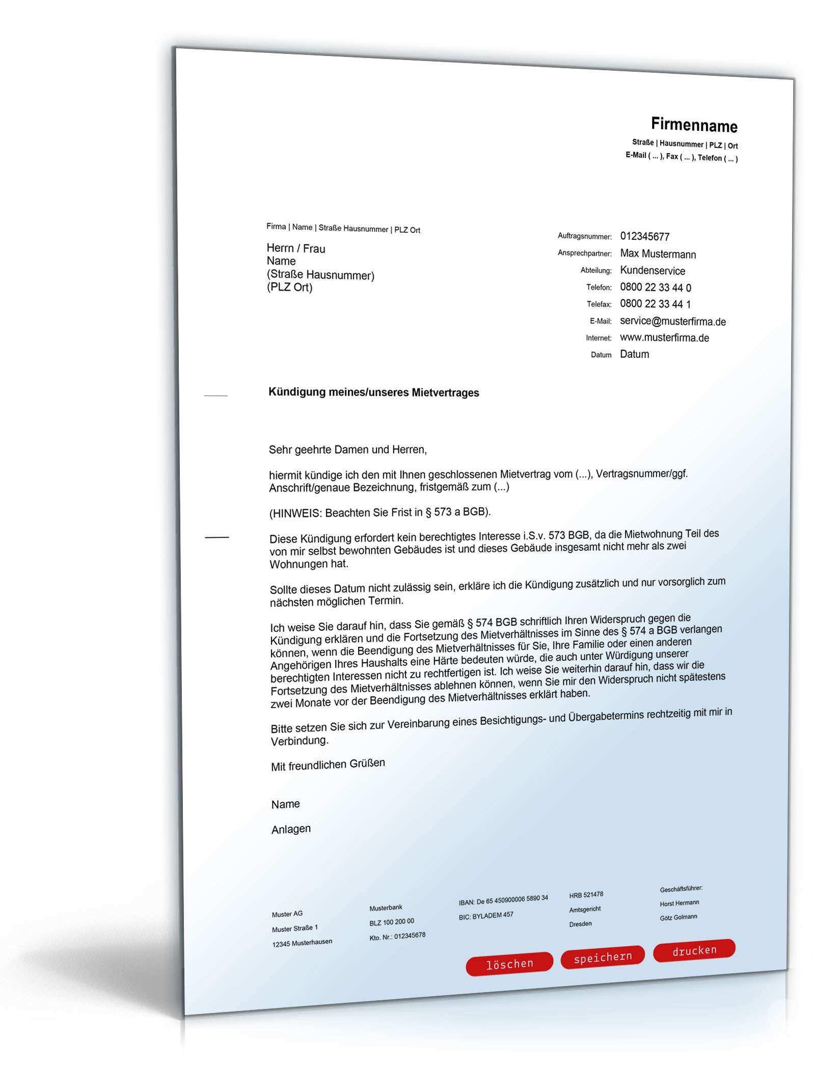 Kundigung Mietvertrag Einliegerwohnung Muster Zum Download