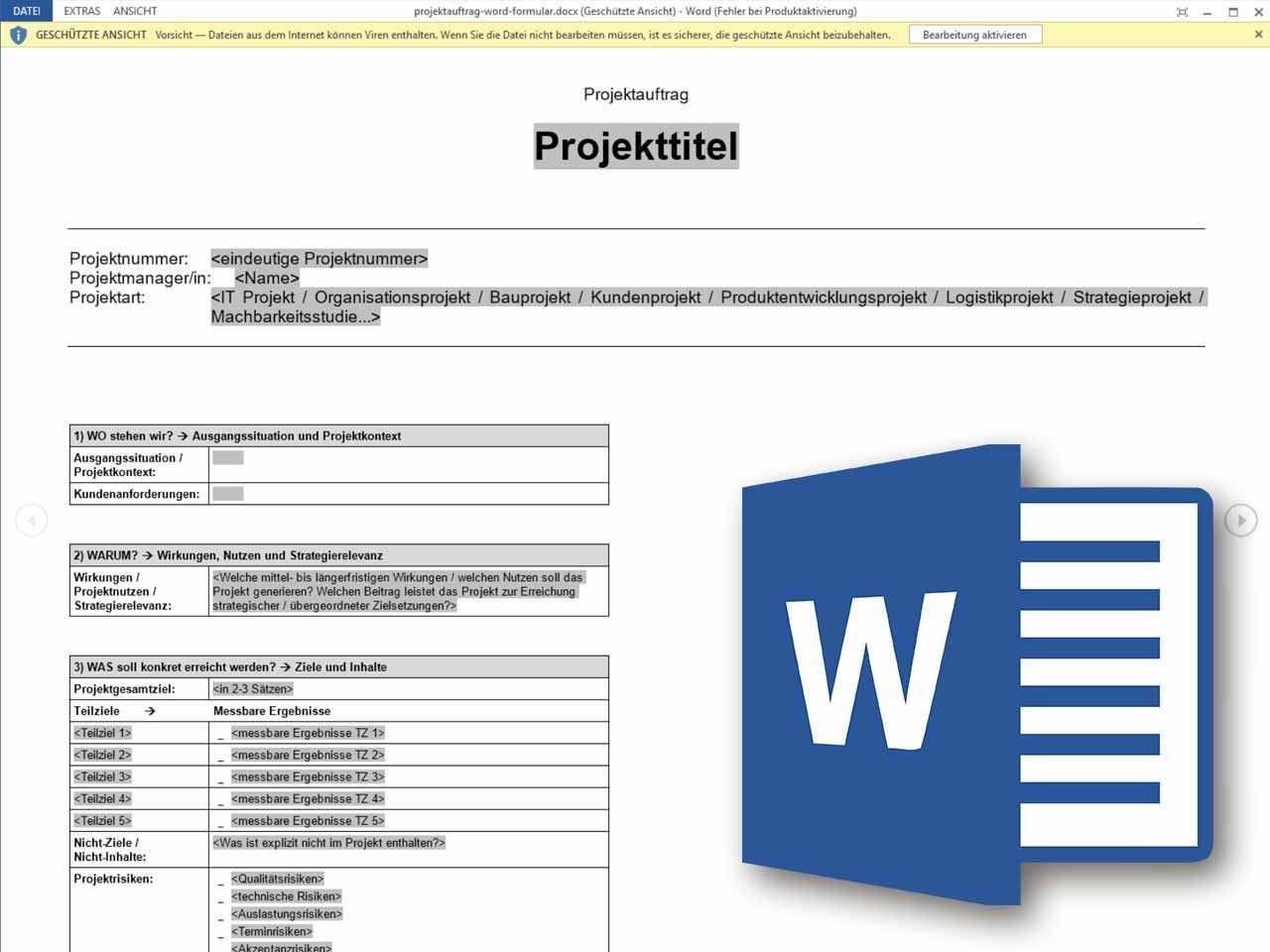 Projektauftrag Word Formular Projektauftrag Projektmanagement