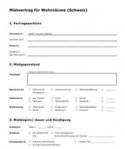 Vorlage Mietvertrag Fur Wohnraume Schweiz Vorlagen Vertrag Arbeitszeugnis