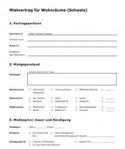 Vorlage Mietvertrag Fur Wohnraume Schweiz Vorlagen Vertrag