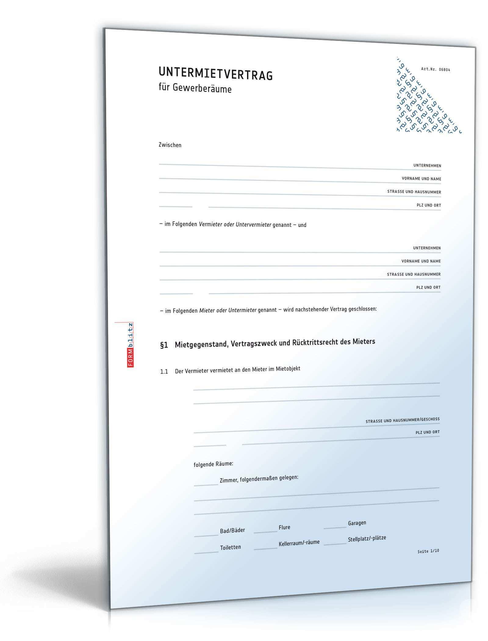 Untermietvertrag Fur Gewerberaume Muster Vorlage Zum Download