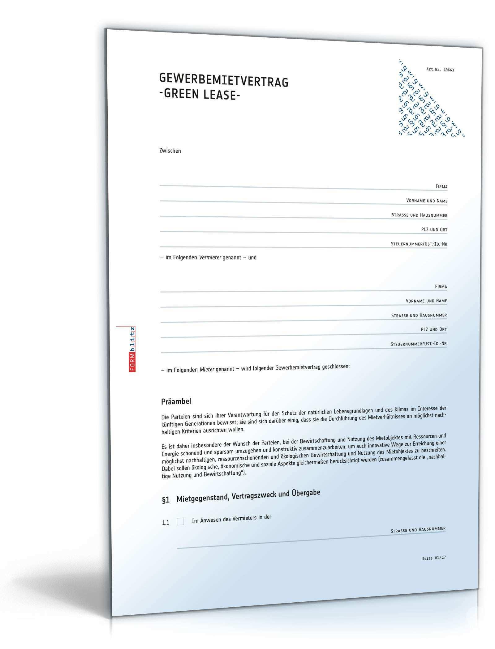 Gruner Mietvertrag Gewerbe Rechtssicheres Muster Zum Download