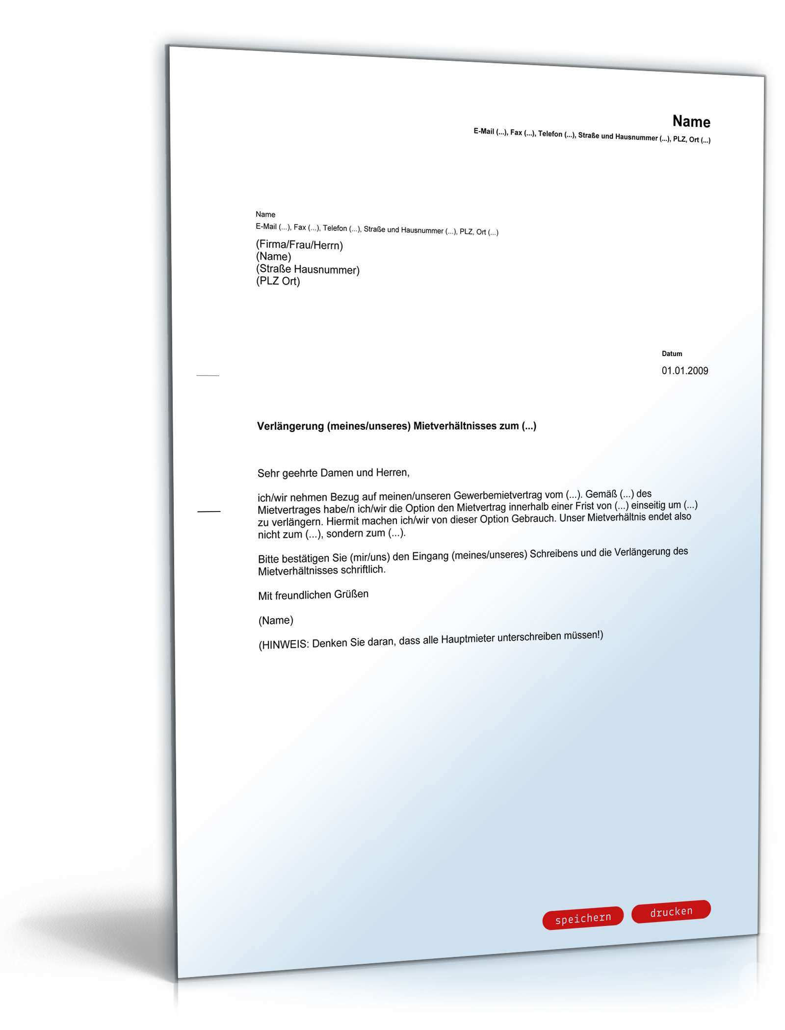 Verlangerung Gewerbemietvertrag Mieter Muster Zum Download