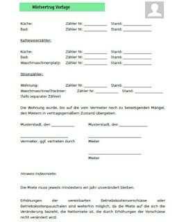 Mietvertrag Vorlage 2