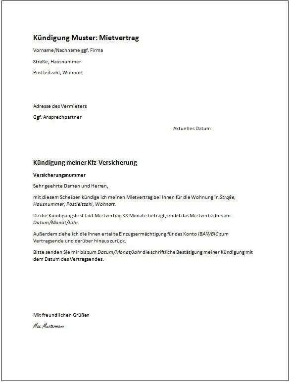 Muster Kundigung Mietvertrag Kundigung Schreiben Vorlagen Word