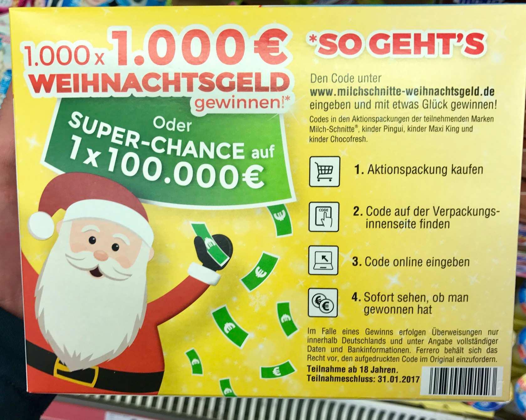 Weihnachtsgeld Gewinnen Mit Milchschnitte Und Co Lohnt Sich Das