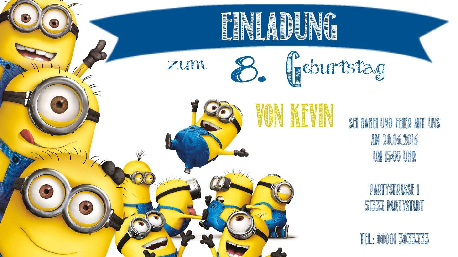 Minions Einladungskarten Zum Ausdrucken Geburtstagseinladungen
