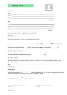Mietvertrag Vorlage Vorlagen Vertrag Lebenslauf Muster