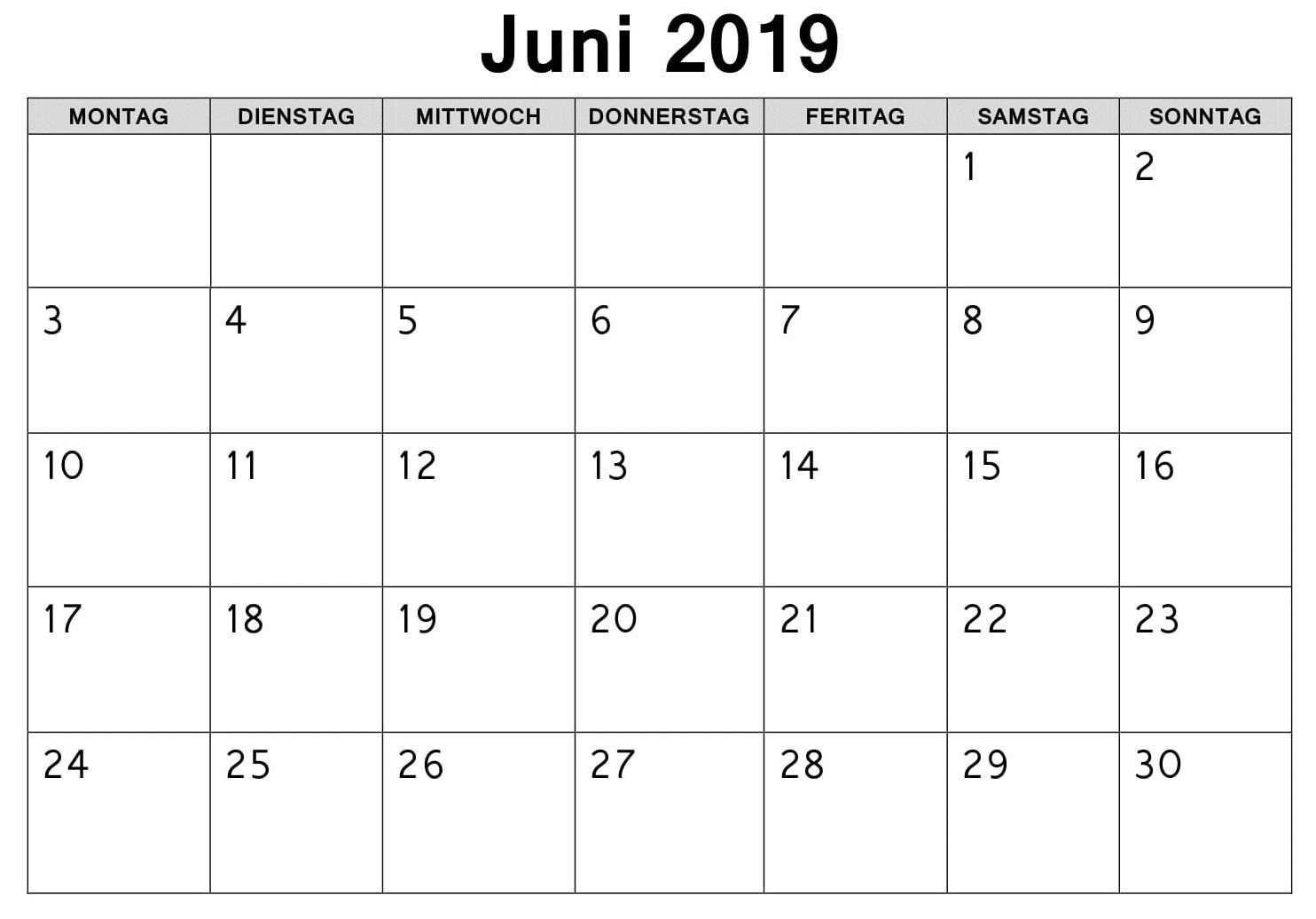 Frei Kalender Juni 2019 Zum Ausdrucken Blank Calendar Template
