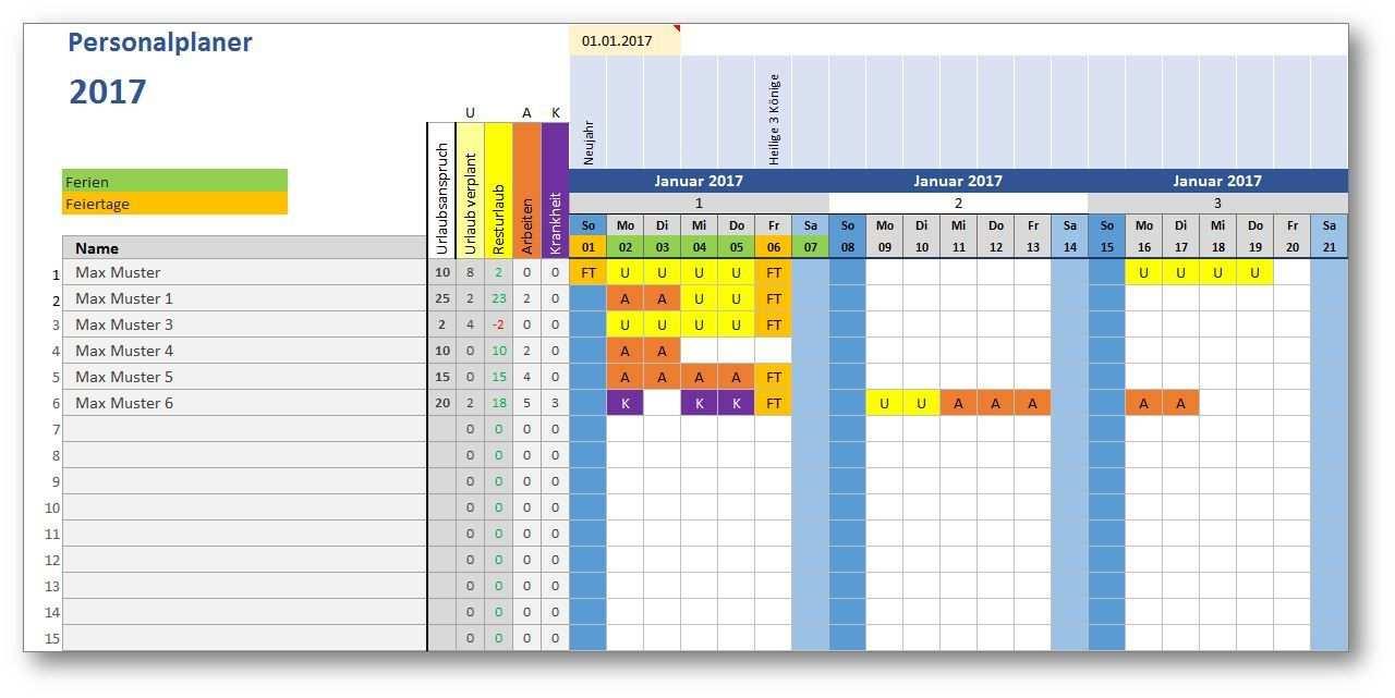 Excel Vorlage Personalplaner Excel Vorlage Vorlagen Aktien Tipps