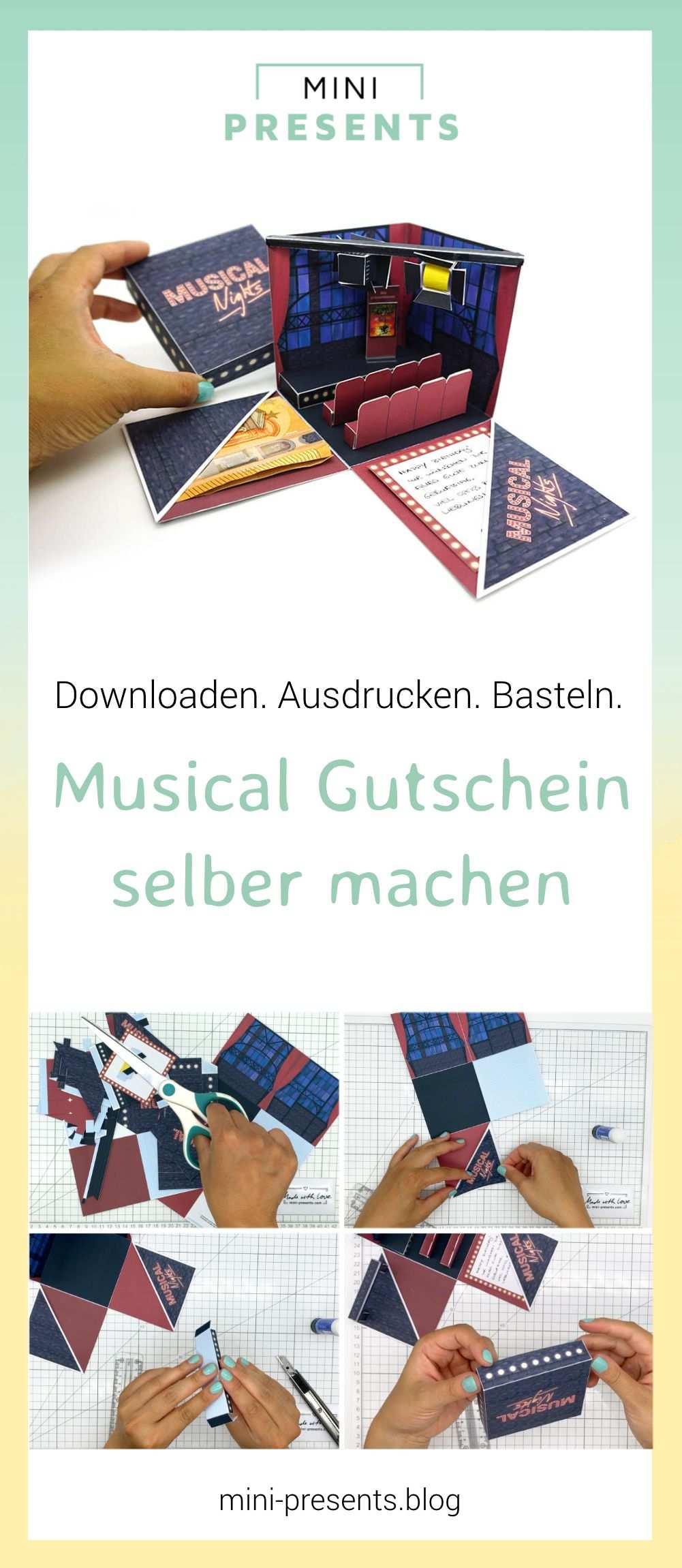 Musical Gutschein Explosionsbox Als Geschenk Zum Selber Basteln