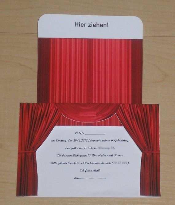 Invitation Greeting Card Theater Cinema Musical Red Einladungen