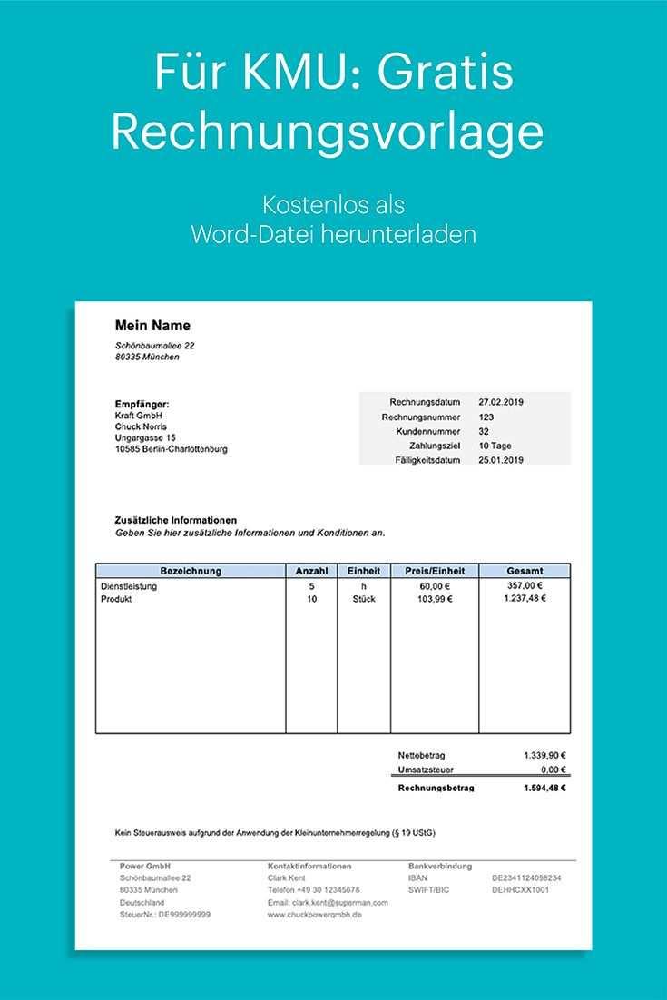 Rechnung Kleinunternehmer Kostenlose Vorlage In Word Rechnung