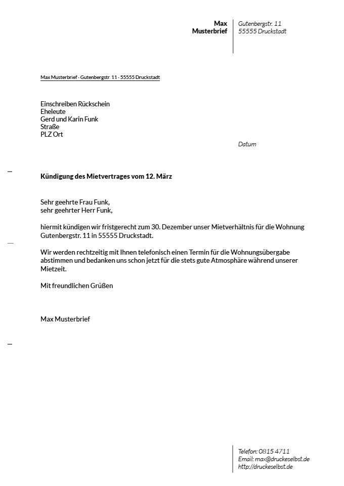 Kundigung Mietwohnung Vorlage Kundigung Briefkopf Vorlage Vorlagen