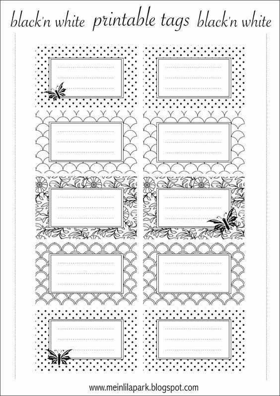 Free Printable Tags Black And White Ausdruckbare Etiketten