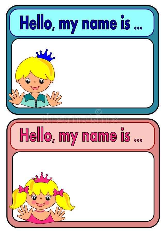 Namensschild Fur Kinder Vektor Abbildung Bild 45116076