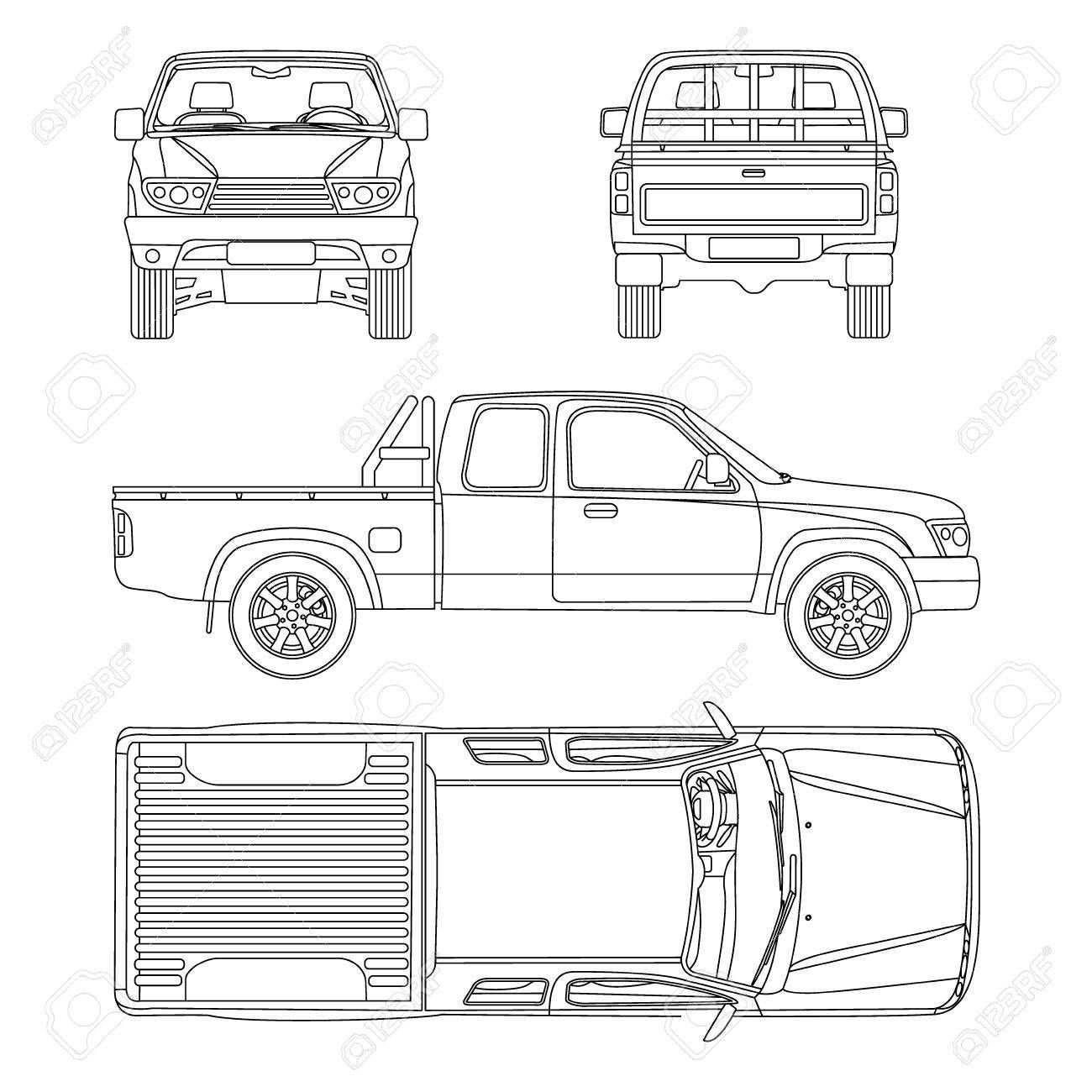Pickup Truck Illustration Blueprint Affiliate Truck Pickup