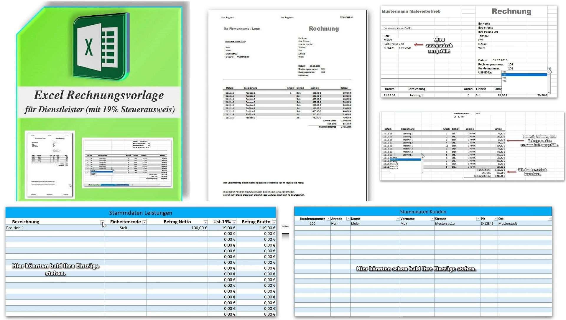 Rechnungsvorlage Mit 19 Steuerausweis Mit Bildern