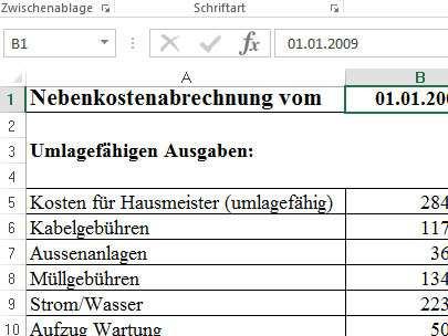 Nebenkostenabrechnung Muster Vorlage Fur Excel Download Chip