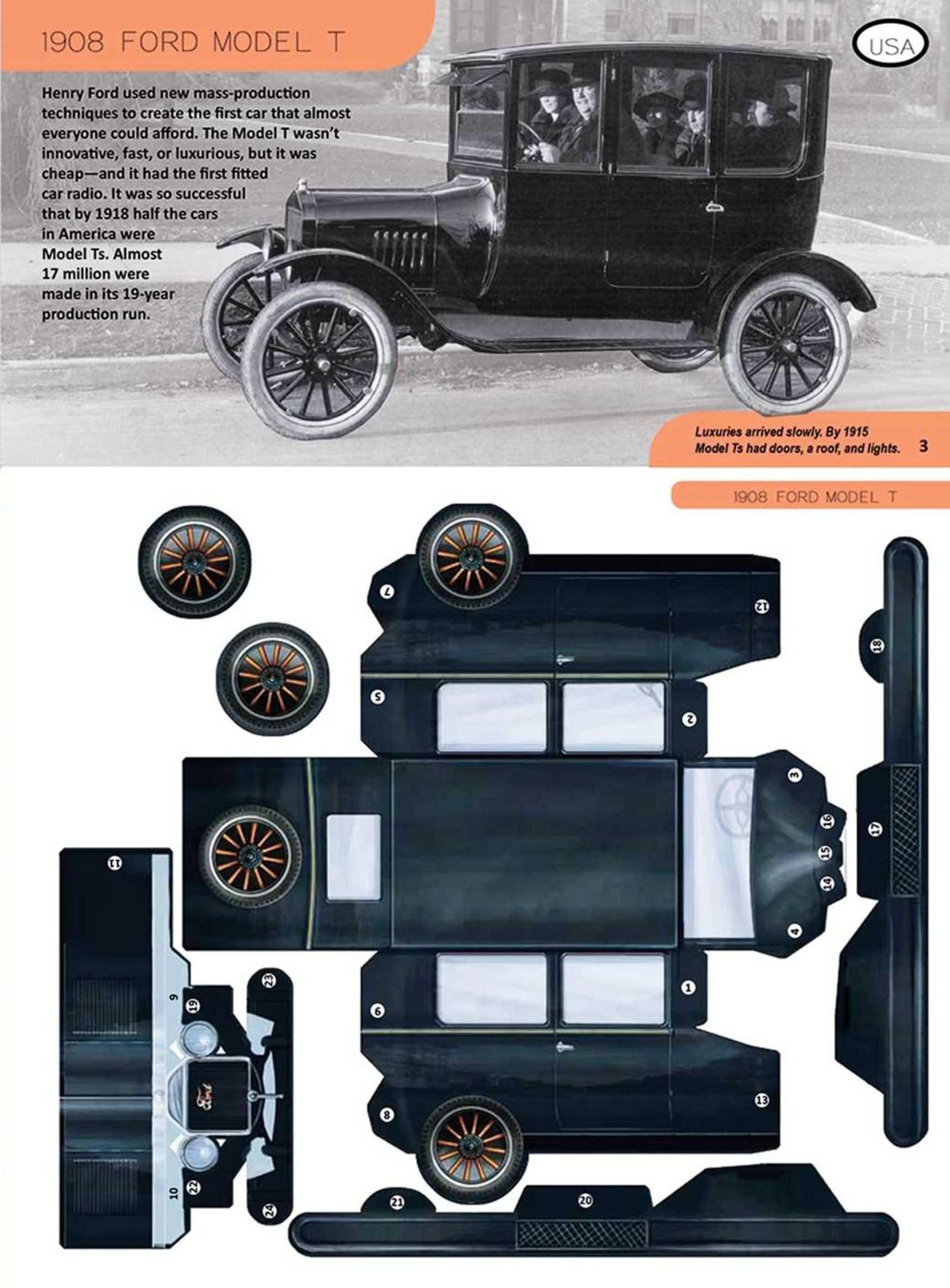 1908 Ford Model T Modelos De Papel Carro De Papelao Carrinhos
