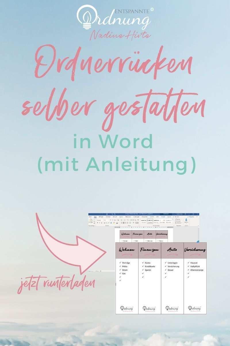Ordnerrucken Word Kostenlose Vorlage Zum Download Ordnerrucken