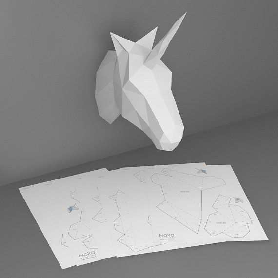 Unicorn 3d Papercraft Model Downloadable Diy Template Basteln