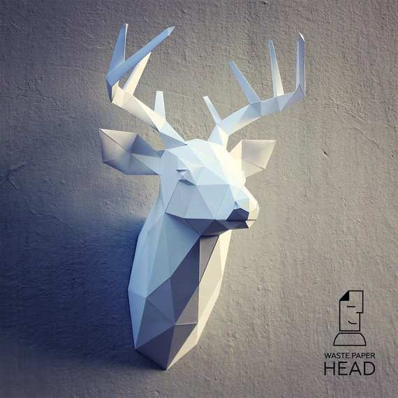 Papercraft Deer Head 3 Printable Diy Template Mit Bildern