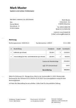 Rechnung Fur Vermietung Schreiben Kostenlose Vorlage
