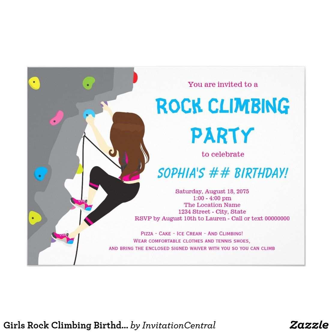 Madchen Felsen Kletterngeburtstags Party Einladung Zazzle De