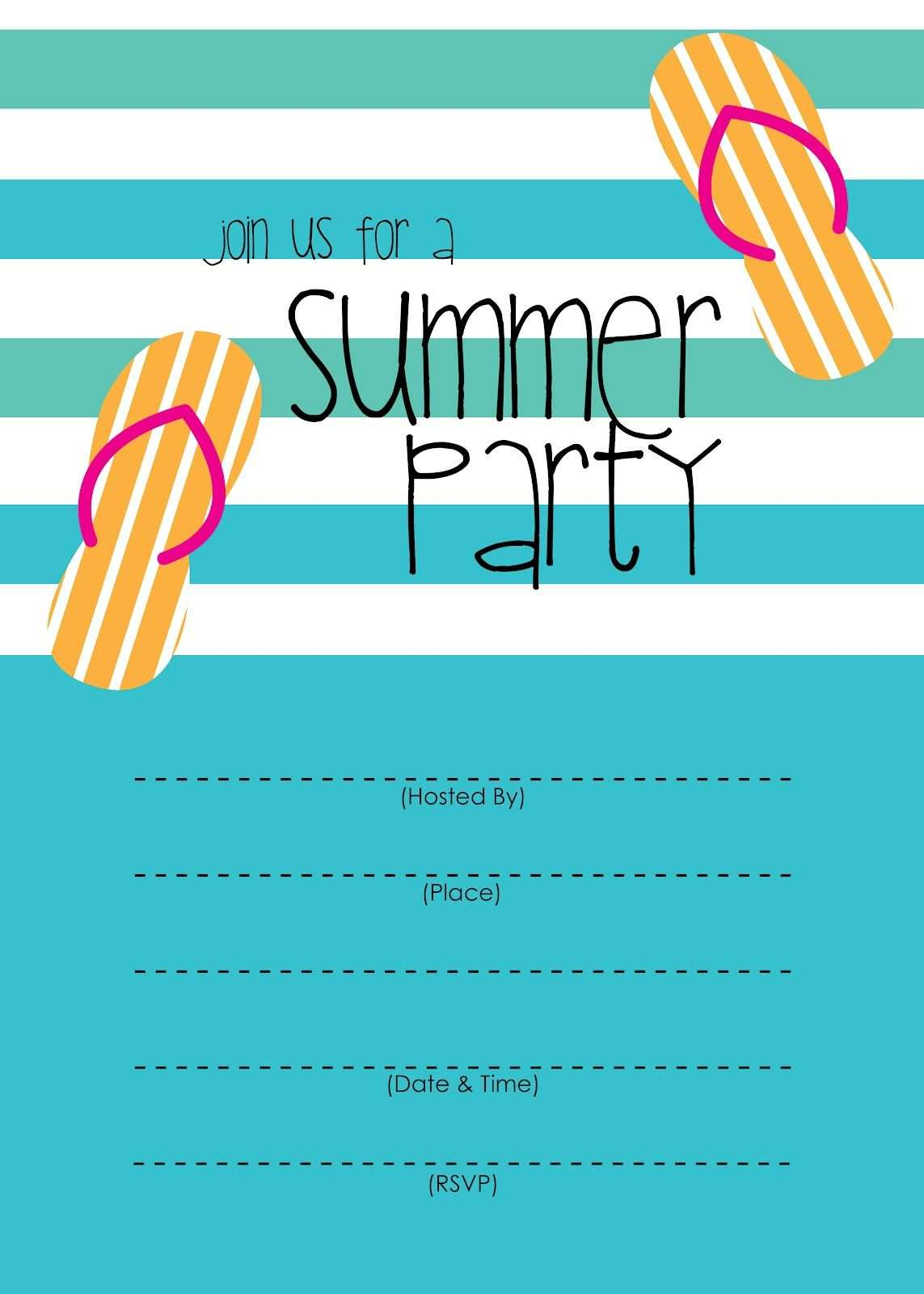 Summer Party Invitation Free Printable Einladung Vorlage