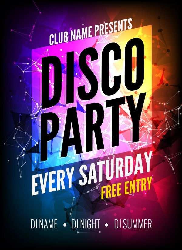 Moderne Disco Party Plakat Vorlage Vektor 01 Kostenlose Eps