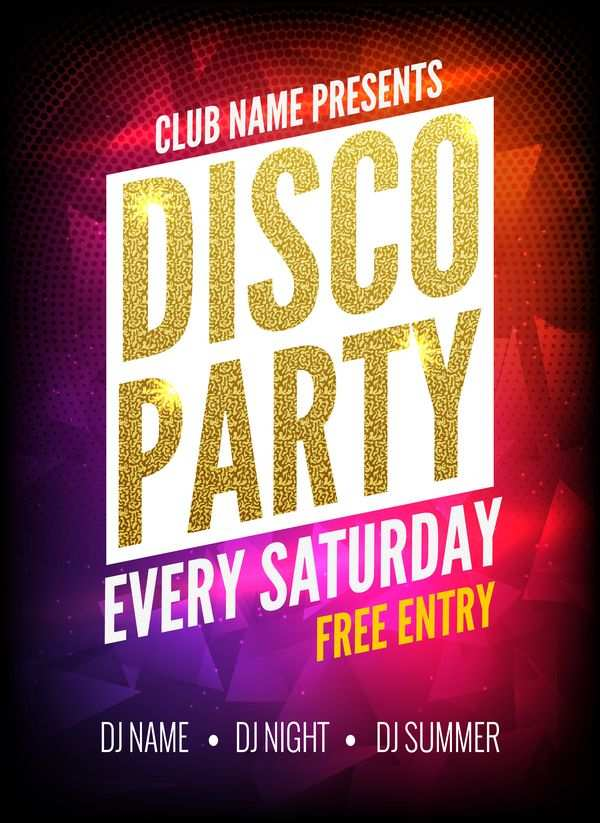 Moderne Disco Party Plakat Vorlage Vektor 03 Eps Datei Moderne