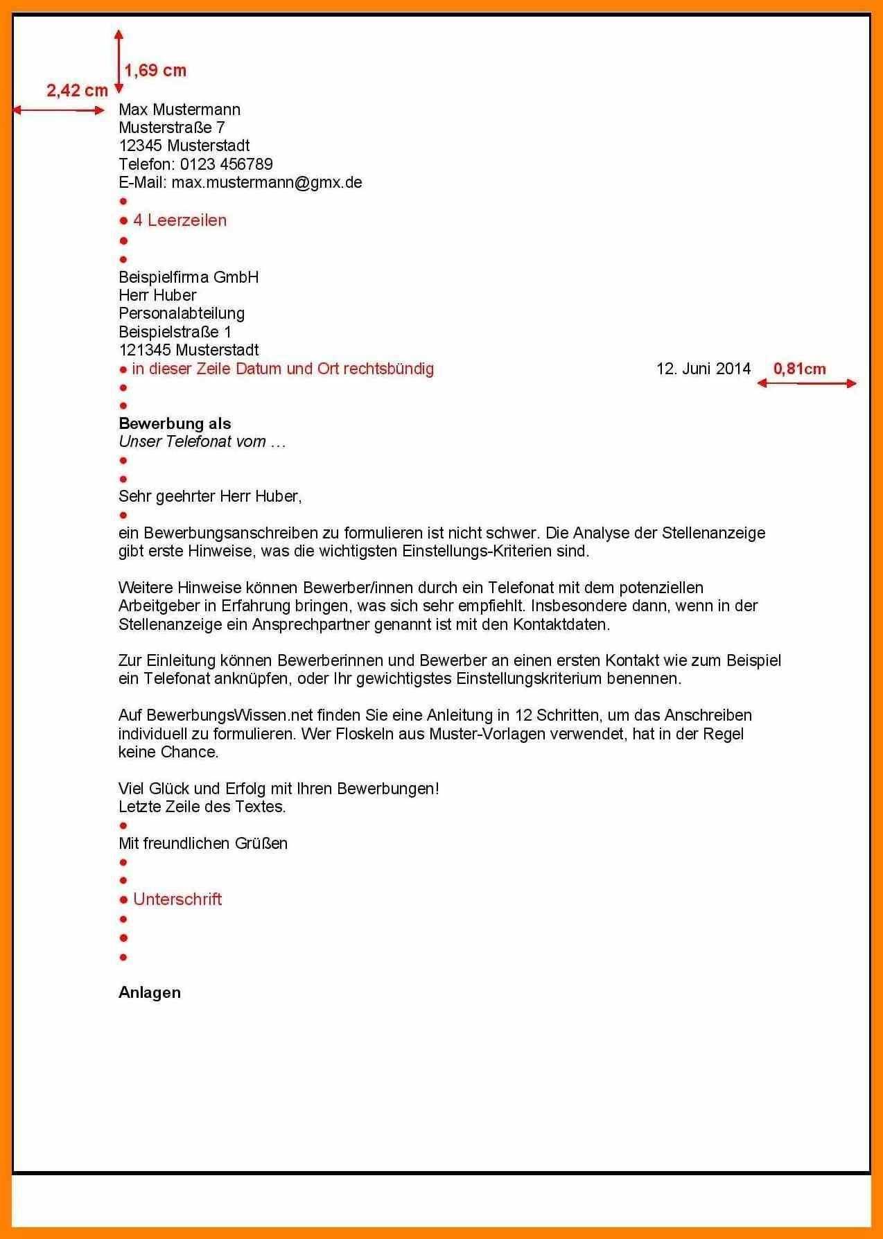 Briefprobe Briefformat Briefvorlage Vorlage Bewerbung