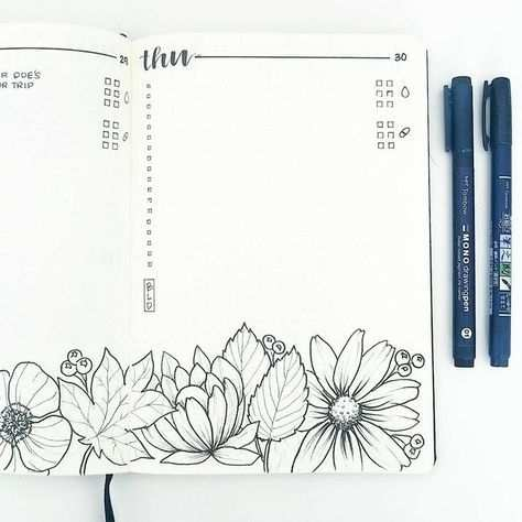 Bullet Journal Daily Layout Water Tracker Flower Drawings